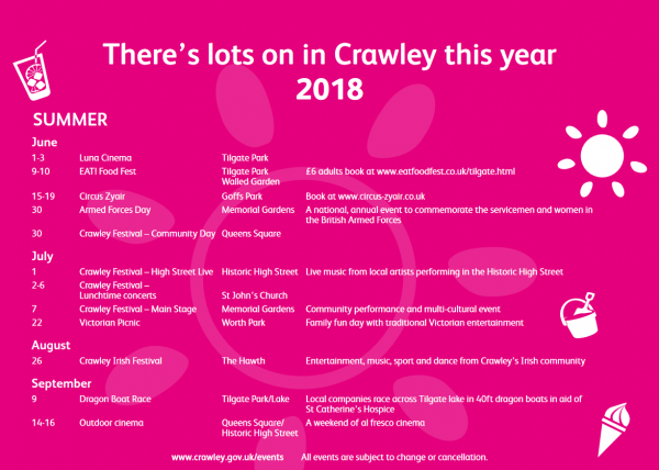 Summer events in Crawley
